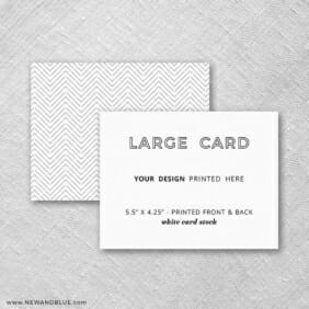 White Card Stock Square Corners Landscape Orientation Large Additional Custom Card Front And Back Printing