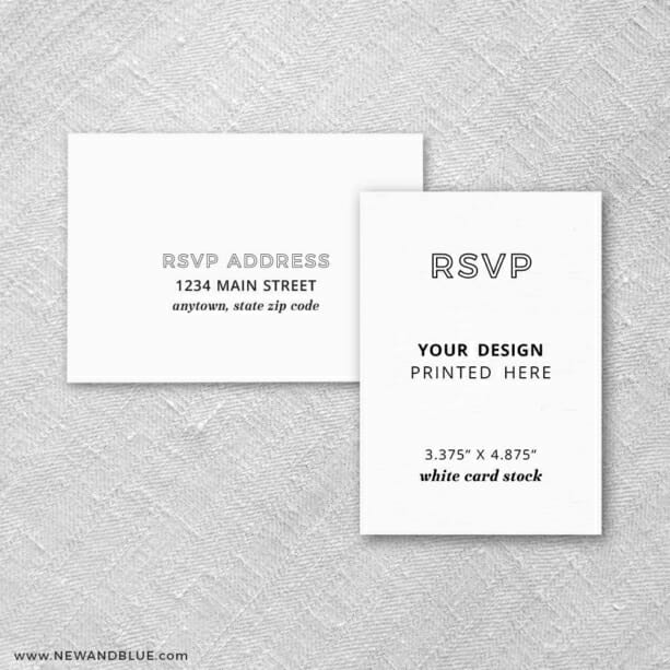 White Card Stock Portrait Orientation Custom Rsvp Card Includes Printed Envelopes