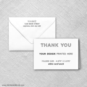 White Card Stock Square Corners Landscape Orientation Custom Folded Thank You Card