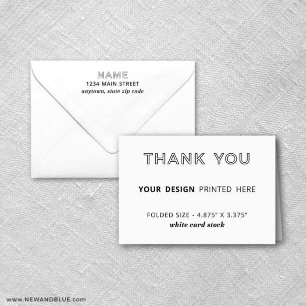 White Card Stock Square Corners Landscape Orientation Custom Folded Thank You Card