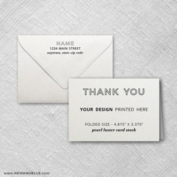 Pearl Luster Portrait Orientation Custom Folded Thank You Card