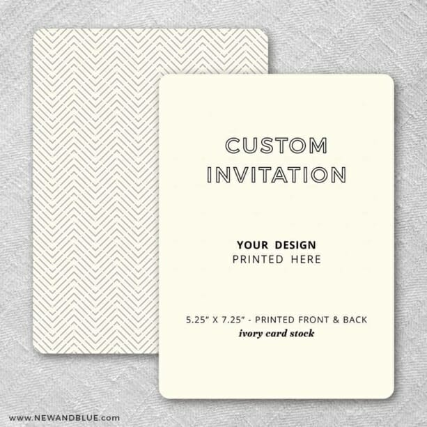 Ivory Card Stock Rounded Corners Portrait Orientation Custom Invitation Includes Front And Back Printing