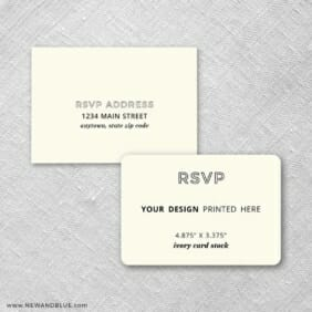 Ivory Card Stock Rounded Corners Landscape Custom Rsvp Card Includes Printed Envelopes