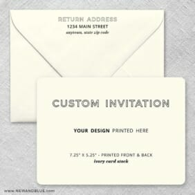 Ivory Card Stock Rounded Corners Landscape Custom Invitation Plus Envelope Printing