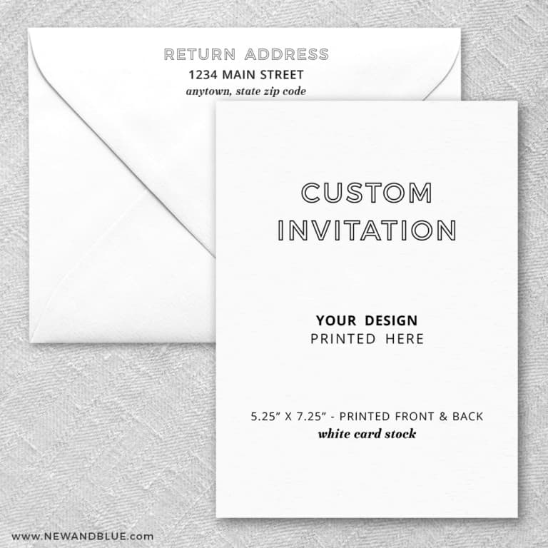 White Card Stock Portrait Orientation Custom Invitation Square Corners