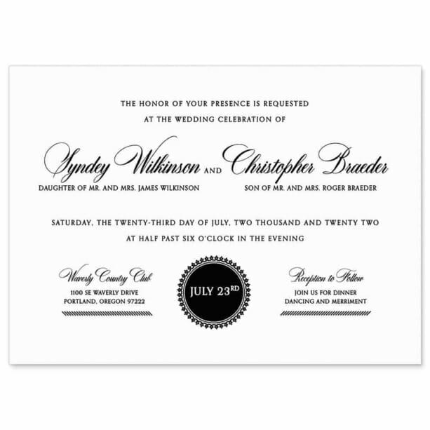 Park Avenue Nb Wedding Invitation