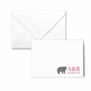 Livingston Nb Thank You Card And Envelope White Back