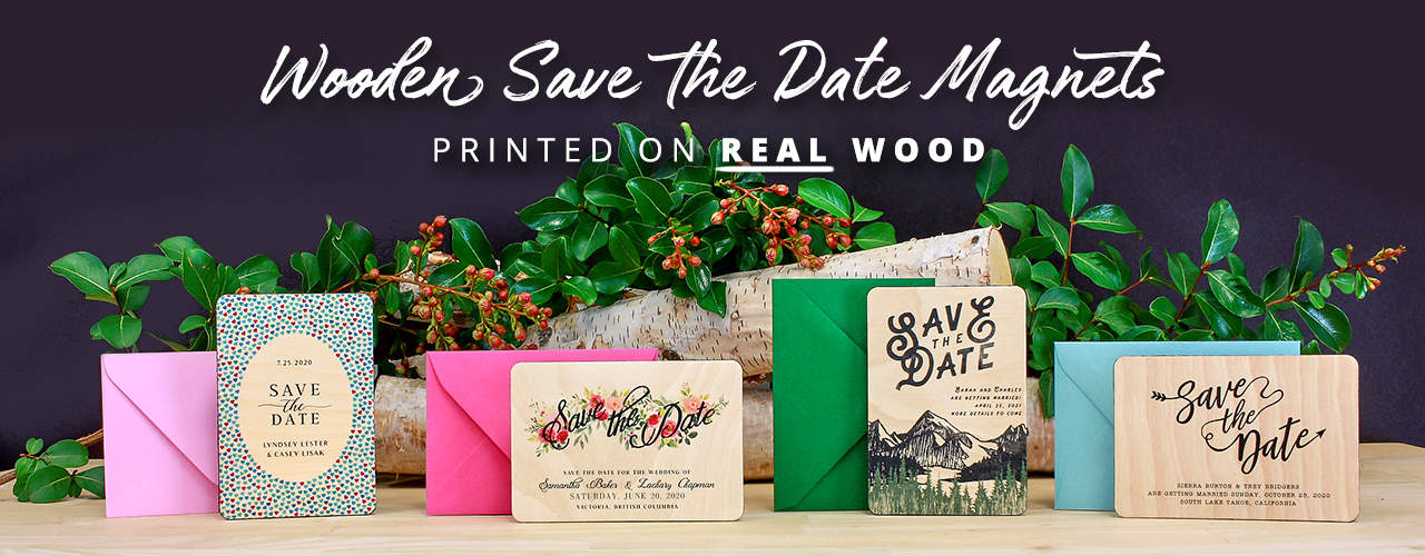 Wooden Save The Date Magnets Printed On Real Wood Banner 1280X500
