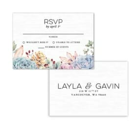 Botanical Rsvp Card With Printed Envelope White Background