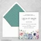 Botanical Wedding Invitation With Envelope Liner