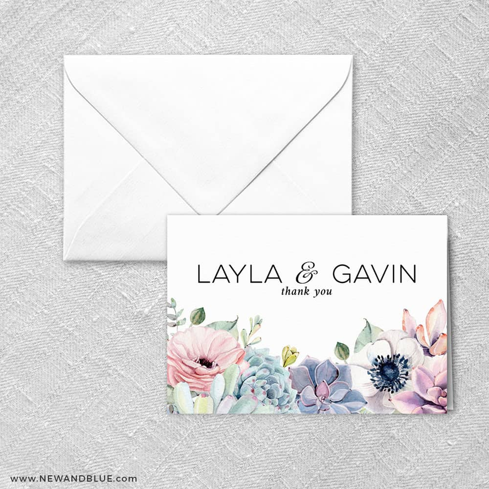 Botanical Thank You Card And Envelope