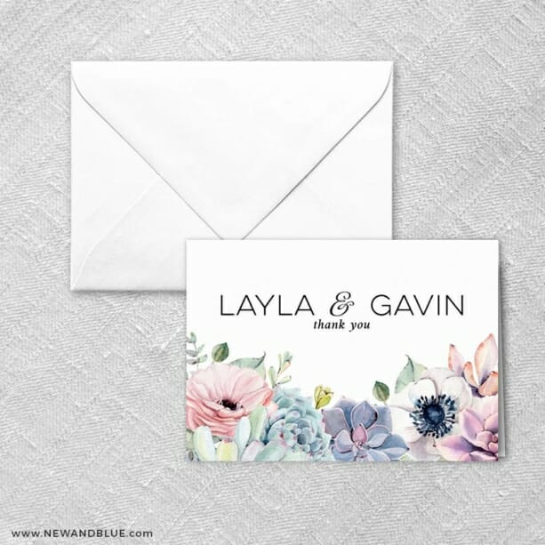 Botanical Thank You Card And Envelope