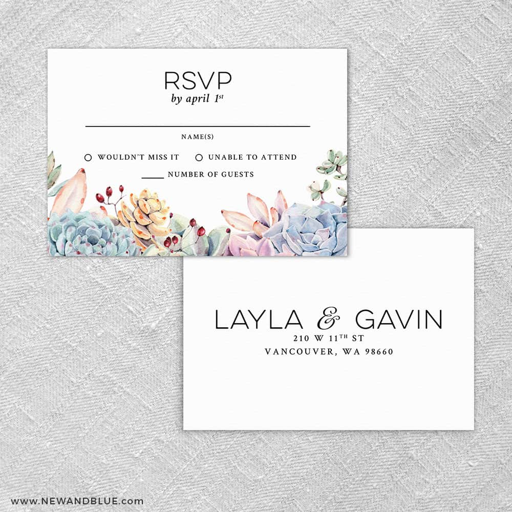 Botanical Rsvp Card And Envelope