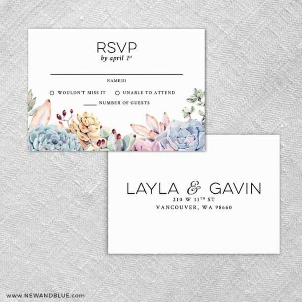 Botanical Rsvp Card And Envelope