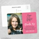 Modern Bat Mitzvah Save The Date Wedding Postcard Front And Back