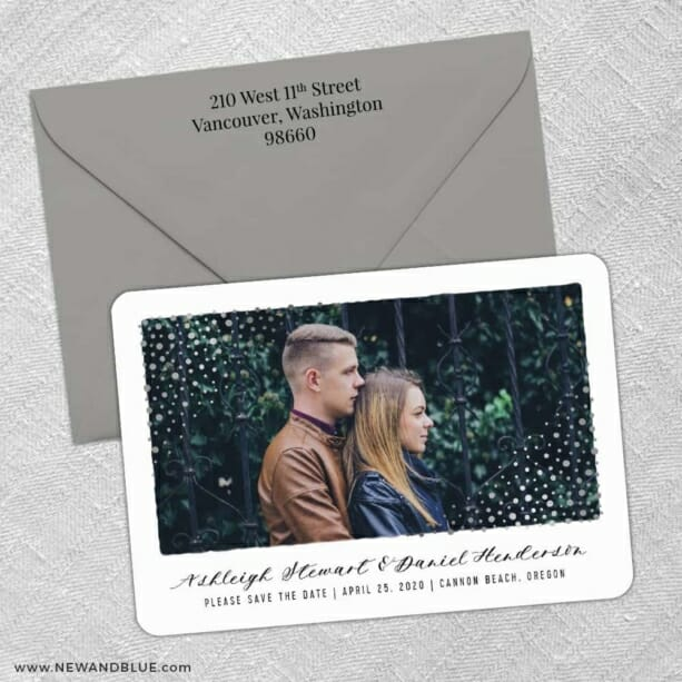 Gleaming Frame 3 Save The Date With Optional Color Envelope