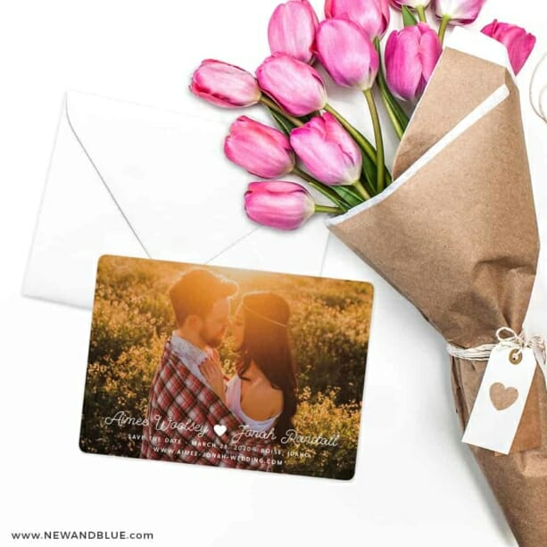 Follow Your Heart Save The Date Cards With Envelope
