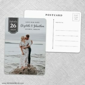 Badge Of Love Save The Date Wedding Postcard Front And Back