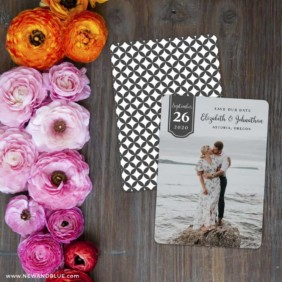 Badge Of Love Save The Date Card With Back Printing