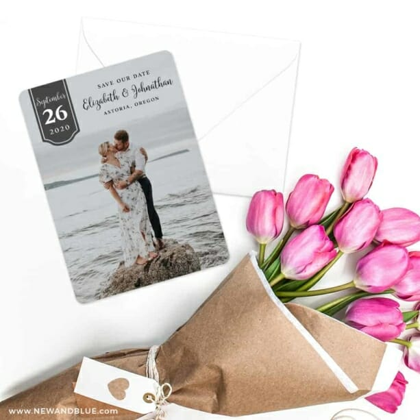 Badge Of Love Save The Date Cards With Envelope