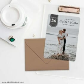 Badge Of Love Save The Date Cards And Optional Color Envelopes