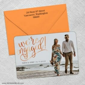 Engaged 3 Save The Date With Optional Color Envelope