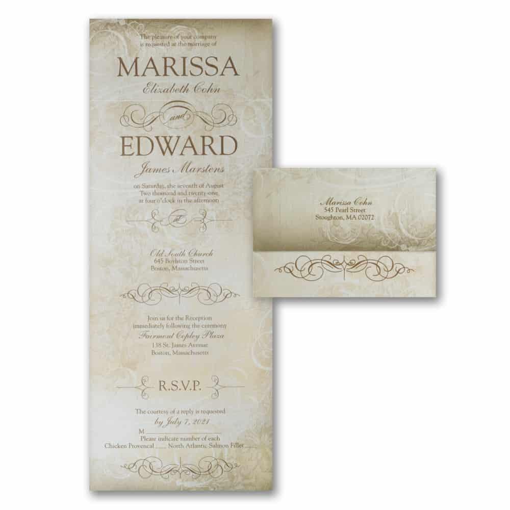 Victorian Flourish Design All In One Wedding Invitations Seal And Send