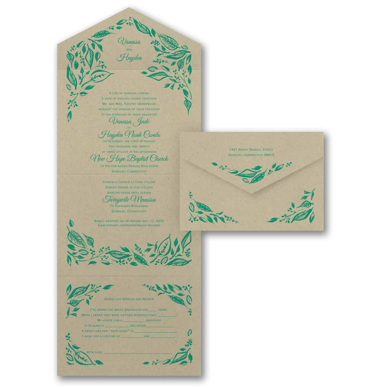 All In One Wedding Invitations, Seal And