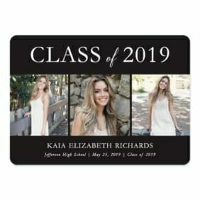 Graduation Collage NB Save The Date With Envelope In Color Black