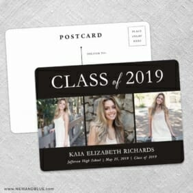 Graduation Collage NB Save The Date Wedding Postcard Front And Back