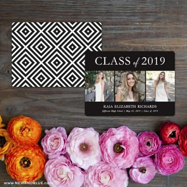 Graduation Collage NB Save The Date Card With Back Printing