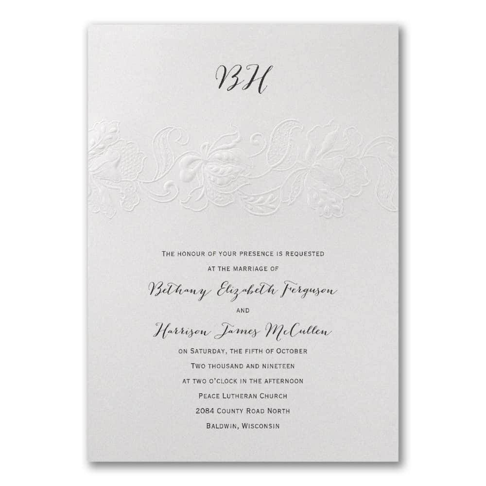 Lace In Pearl Wedding Invitations