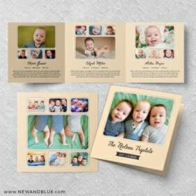 Three Times The Fun Triplet Baby Announcement Three Panel Orange