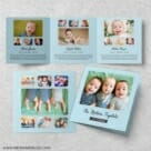 Three Times The Fun Triplet Baby Announcement Three Panel Blue