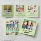 Three Times The Fun Triplet Baby Announcement Three Panel Green