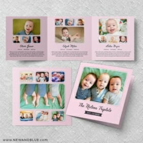 Three Times The Fun Triplet Baby Announcement Three Panel Pink