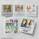 Three Times The Fun Triplet Baby Announcement Three Panel Gray