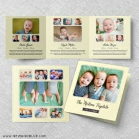 Three Times The Fun Triplet Baby Announcement Three Panel Yellow