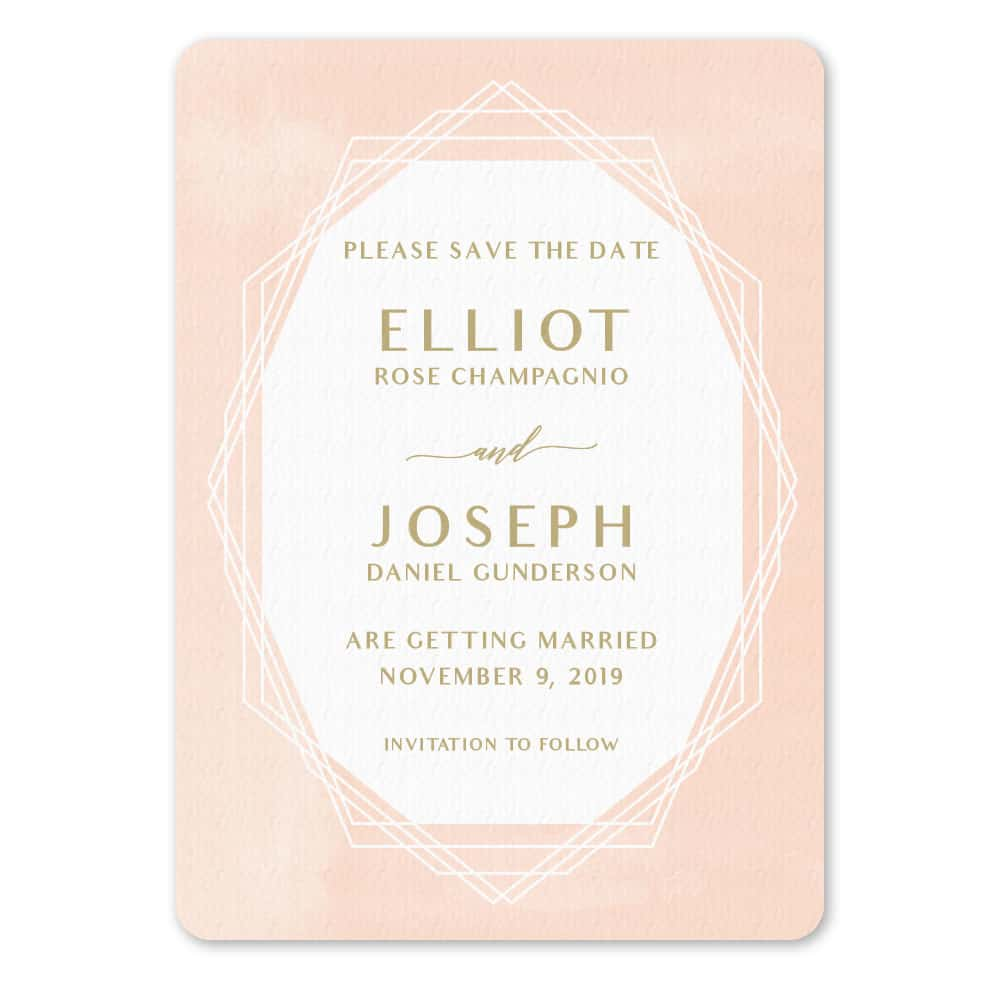 Quartz NB Save The Date With Envelope In Color Orange