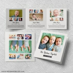 Three Times The Fun Triplet Baby Announcement Three Panel
