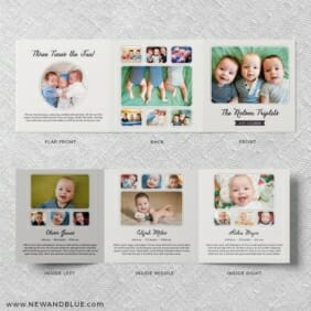 Three Times The Fun Triplet Baby Announcement Front And Back Panels