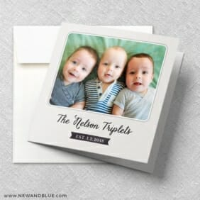 Three Times The Fun Triplet Baby Announcement Front