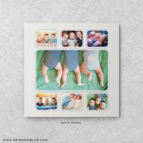 Three Times The Fun Triplet Baby Announcement Back Panel