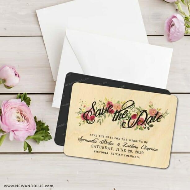 Bouquet De Fleurs 5 8 Wedding Save The Date Magnets Wooden