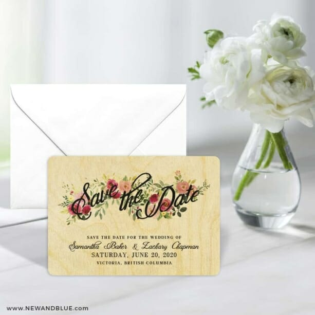 Bouquet De Fleurs 5 7 Wedding Save The Date Magnets Printed On Wood