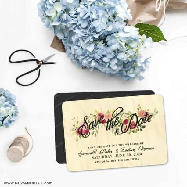 Bouquet De Fleurs 5 6 Save The Date Magnet Wood Veneer