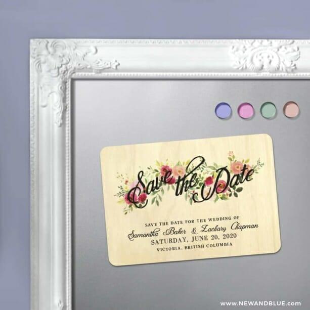 Bouquet De Fleurs 5 5 Wooden Refrigerator Save The Date Magnets