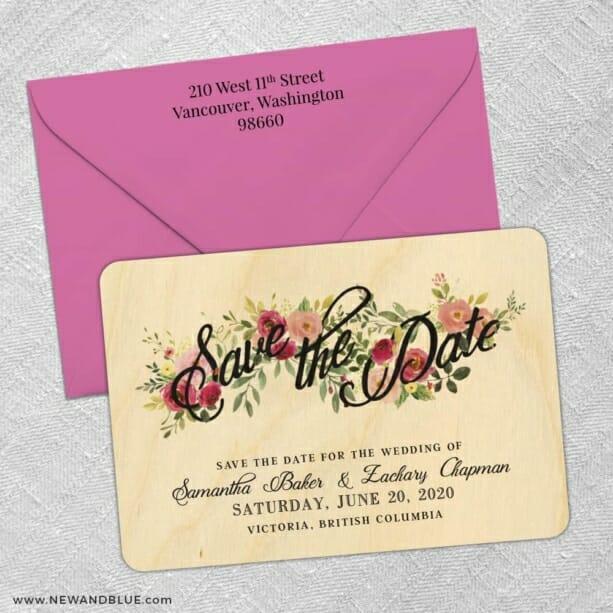 Bouquet De Fleurs 5 4 Wood Save The Date With Optional Color Envelope