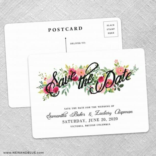 Bouquet De Fleurs Nb2 Save The Date Wedding Postcard Front And Back