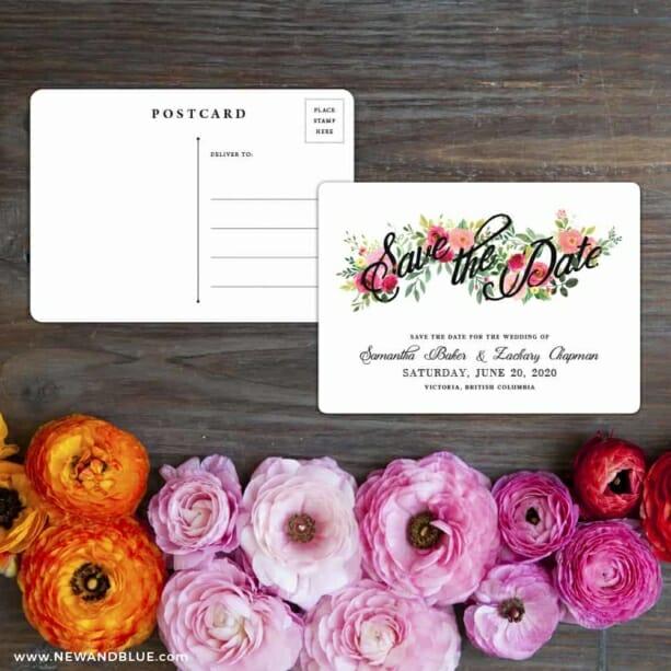 Bouquet De Fleurs Nb2 Save The Date Postcard With Back